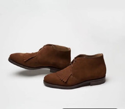 Suede Leather Rounded Toe Chukka Brown Tone Men Lace Up Oxford Party Wea... - $149.90+