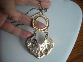 Necklace Gold Tone Filigree Metal & Aurora Borealis Rhinestones Gold Tone Chain image 2