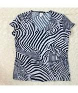 Jaipur Womens Sz M VNeck Knit Shirt Top Black White zebra Print Sparkles - $12.19