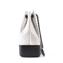 BNIB 2019 Chanel White Black Gabrielle Quilted Leather Bucket Bag RECEIPT  image 4