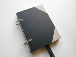 Personilized travel journal- 200 pgs- 80gsm Black refillable journal- cu... - $28.00+
