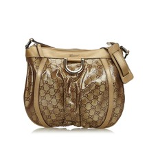 Pre-Loved Gucci Brown GG Crystal D-Ring Crossbody Bag Italy - $475.74