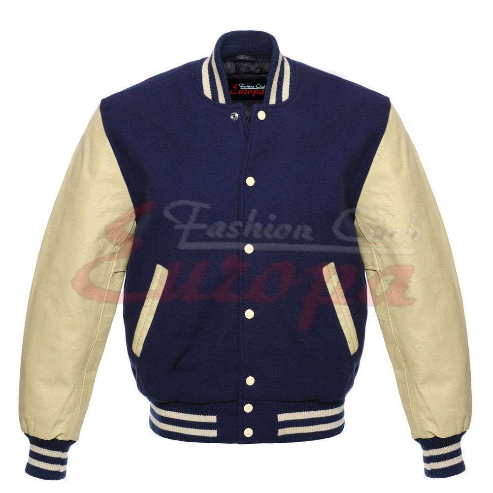 Primary image for BEST quality-Wool-Varsity-Jacket-with-Real-Leather-Sleeves
