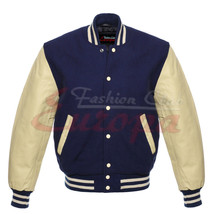 BEST quality-Wool-Varsity-Jacket-with-Real-Leather-Sleeves - $62.99