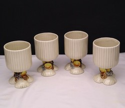Set of 4 Fitz & Floyd Sea Shell Seashell Footed Goblets Cups - $39.95