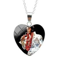 Elvis Presley Heart Glass Pendants Necklace Chain TCB Dome Jumpsuit SS31... - $15.99