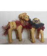 """Vintage Set of 2 Hand Made Faux Leather Camels 7.5"""" - $17.00"""