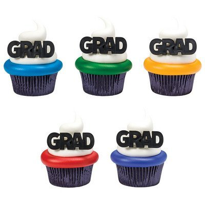GRAD Block Letter Graduation Party Rings Cupcake Toppers - 24 ct