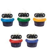 GRAD Block Letter Graduation Party Rings Cupcake Toppers - 24 ct - $6.71 CAD