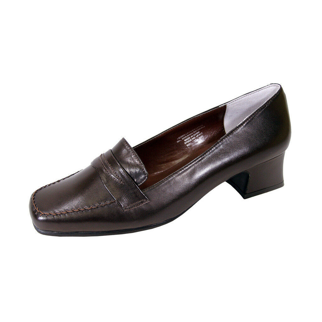 PEERAGE Ida Women Wide Width Classic Style Comfort Leather Penny Loafers  - $44.95