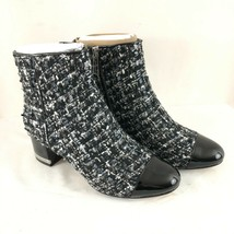 Michael Kors Womens Ankle Boots Tweed Block Heel Black Gray Size 5.5 - $58.04