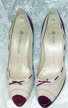 "Peter Kaiser Women's Shoes Size 7M - Beige/Burgundy - 4.5"" Heels - Germa... - $32.71"