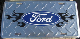License Plate FORD with Blue Flames embossed symbol metal sign plaque - $9.98