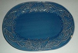 "Vintage Bordallo Pinheiro 15"" Large Oval Serving Platter Butterfly and W... - $89.99"