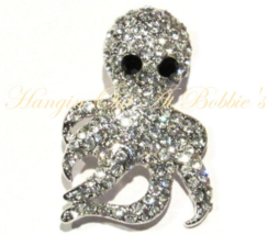 Octopus Squid Pin Brooch Clear Crystal Silver Tone Metal Ocean Beach Theme - $29.99