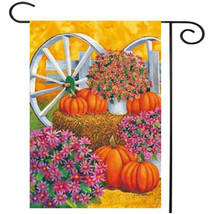 28'' x 40'' Pumpkin Wagon Wheel Fall Autumn Decorative House Flag Large ... - £8.14 GBP