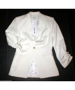 NWT Elizabeth and James Blazer Jacket 4 White Ruched Jax Wool New Scrunc... - $495.00