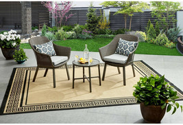 3 Piece Patio Chat Set Bistro Gray Wicker Accent Table Lounge Chairs Cus... - $195.98