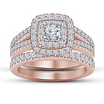 2.25 CTW Diamond 14K Rose Gold Finish 925 Sterling Silver Engagement Bridal Set - £62.47 GBP