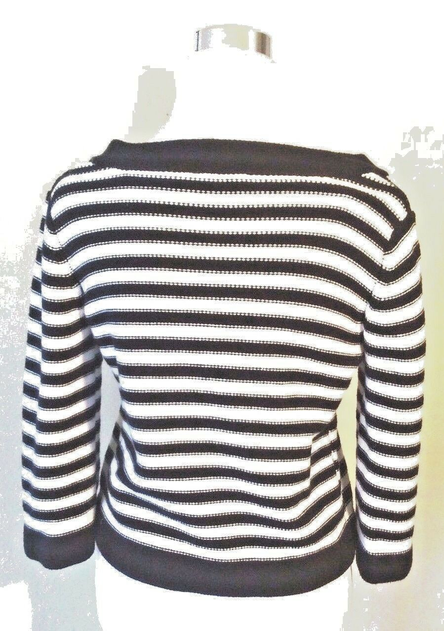 Croft & Barrow Women's Striped Cardigan Petite Sweater Blue White Knit Ribbed image 2
