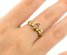 14k Yellow Gold Finish 1.00 Ct Round Pink Sapphire Solitaire Engagement ... - $97.48