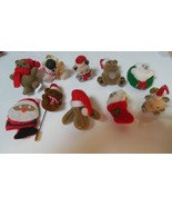 Vintage Christmas Fuzzy Bear Tac Pin Lot of 10 - $26.72