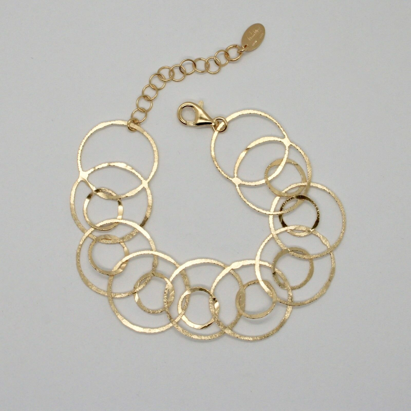 Silver Bracelet 925 Foil Gold Circles Worked by Maria Ielpo Made in Italy -