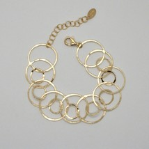 Silver Bracelet 925 Foil Gold Circles Worked by Maria Ielpo Made in Italy - - $120.10