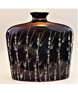 Vase Ceramic Large Brown White Grass Leaf Pattern Bottle Shape Unmarked - $49.50