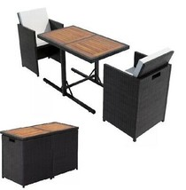 Patio Dining Set Wicker Rattan Bistro Outdoor Garden Table Chairs Furnit... - $265.05