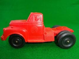 Vintage Auburn Safe Play Toys Rubber Red Semi Truck 354 Plate Black Resi... - $14.58