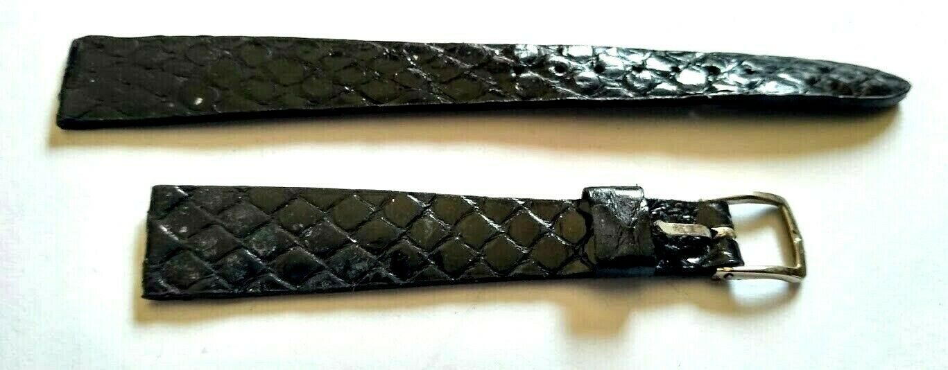 "Primary image for NOS Genuine Anaconda Snake vintage 11mm 7/16""  R Black Watch Band From 1960s"