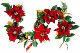 CraftMore Poinsettia Pine Garland 6' image 1