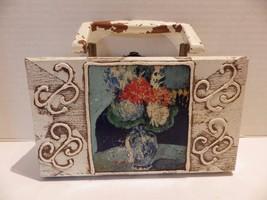 1960s Vintage Wood Handbag FORSUM Antique White Suitcase Style - $19.79