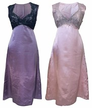 Ladies Sexy Satin Long Knee Length Pink & Purple Nightgown Nightdress wi... - $13.29