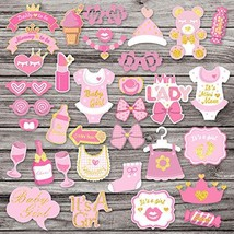 35Pcs Pink Glittering Baby Shower Photo Booth Props for Baby Girl Shower... - $12.62