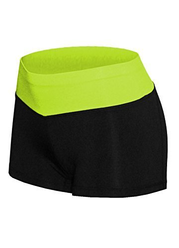 W Sport Women's Athletic Moisture Wick Mini Yoga Shorts Leggings, Lime Green, La