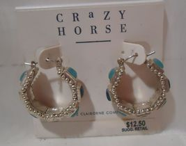 Vintage Crazy Horse By LIz Claiborne Blue and Silver Hoop Earrings - $9.99
