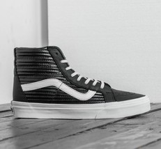 Vans Sk8 Hi Reissue (Moto Leather) Black/Blanc de Blanc Men's Size 8.5 - $65.41