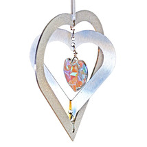 3D Aluminum and Crystal Heart Ornament image 7
