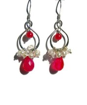 Hot Pink Earrings, Pearl Cluster Teardrops, Sterling Silver, Infinity Drop Earri - $40.00