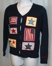 All Points M Cardigan Sweater Patriotic Red White Blue Stars New Womens ... - $17.46