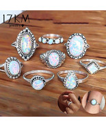 17KM® 8 pcs/set Vintage Opal Knuckle Rings Set For Women Boho Geometric ... - $4.15+