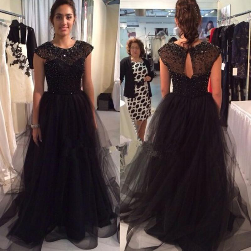 Charming cape sleeves sequined beaded tulle evening prom dresses 2015 crew neck font b black b