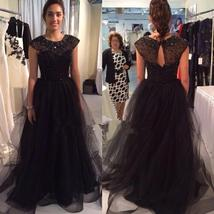 G cape sleeves sequined beaded tulle evening prom dresses 2015 crew neck font b black b thumb200