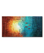 Seekland Art Hand Painted Framed Large Textured Oil Painting Abstract Ca... - $139.80