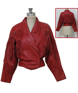 QASTAN Women's New Red Leather Jacket Fringes & Silver tone Metal Concho... - $165.62+