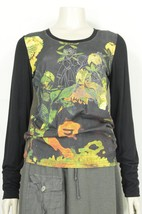 Bella Carra top t-shirt SZ M Biz Enterprises long sleeve black multicolor - $9.89