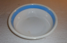 "Vtg Art Pottery Country Kitchen  Large 15 "" Mixing Bowl Cream Blue / Silver - $35.49"