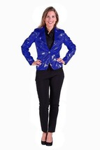 Ladies  2017 style Sequinned Cabaret Jackets - Blue - $64.44